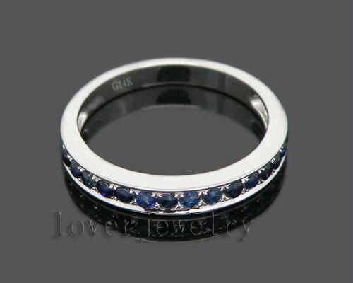 Бесплатная доставка! SOLID 14 К белого золота синий сапфир обручальное кольцо SE00101