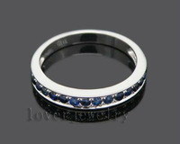 Free Shipping Solid 14k White Gold Blue Sapphire Wedding Band Ring SE00101