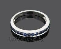 Freies Verschiffen!!! solide 14 Karat Weißgold Blauer Saphir Wedding Band Ring SE00101