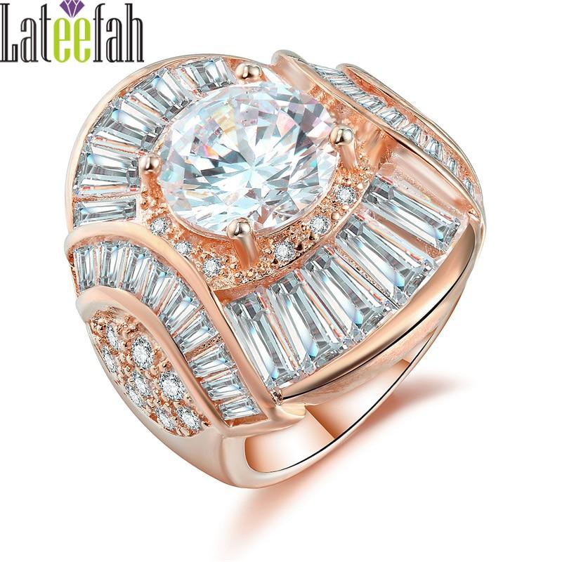 Lateefah Edle Königlichen Schmuck Ringe für Frauen Große Runde Zirkonia Einzigartige Pental Design Rose Gold Filled Ringe Anillos Mujer