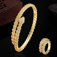 Copper Snake Bangles Jewelry Brand Women's Love Chain Bracelet Wedding Bridal Zirconia Anel aneis Jewelry Puseira Mujer