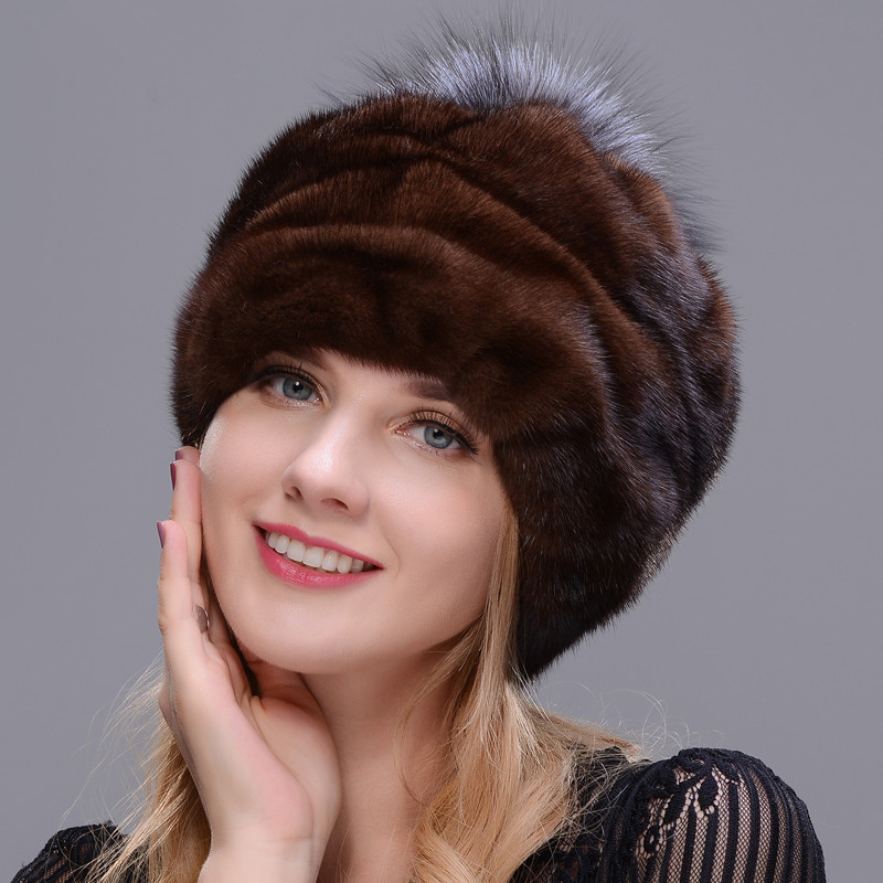 2018 New Style Round Hat Integrated Real Mink Fur With Fox Fur Pompom Making Woman Favorite Hat Soft Brown Winter Warm Hat
