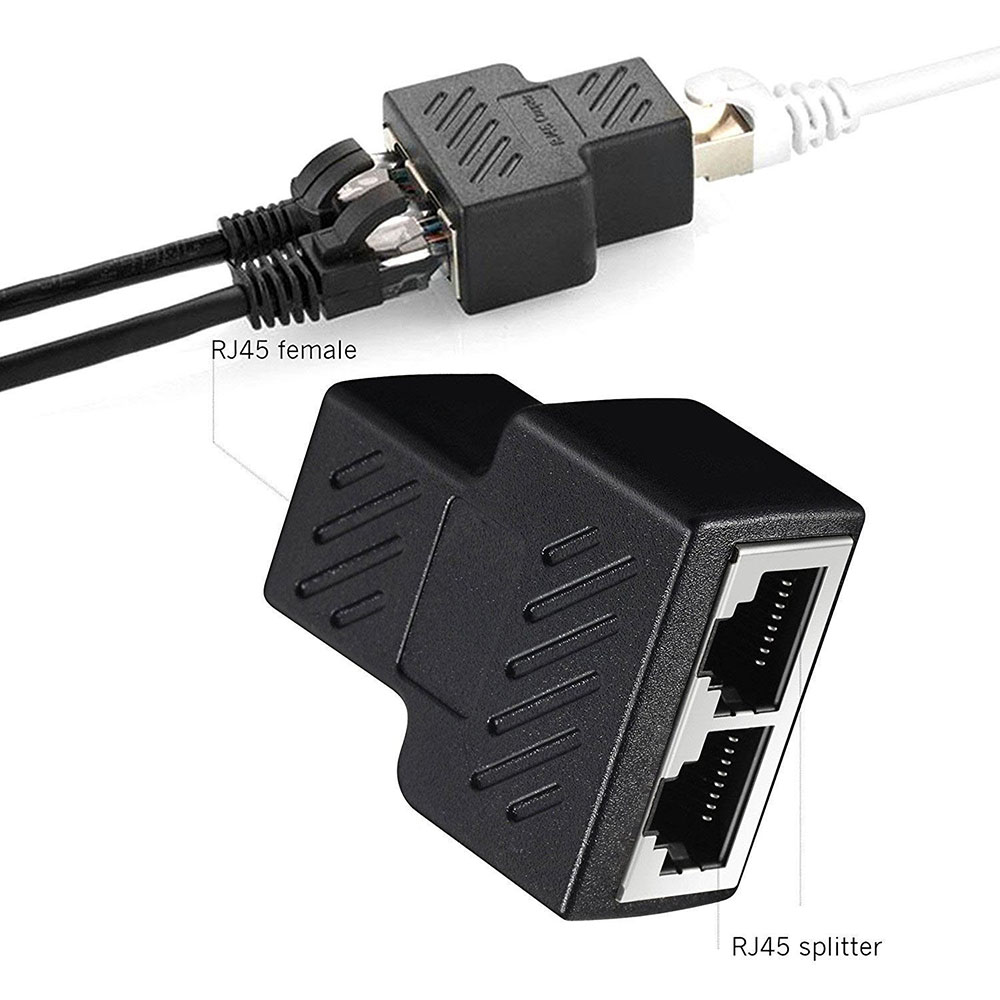 10PCS RJ45 Splitter Adapter 1 To 2 Port USB To RJ45 Socket Adapter Cable LAN Network Connector 8P8C Extender Plug For CAT5/6/7