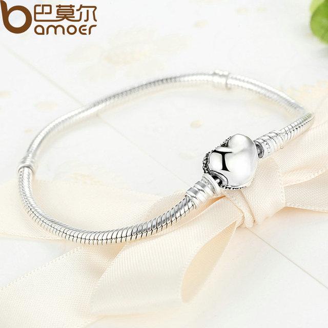 Sterling Silver Love Heart Chain Snake Bracelet
