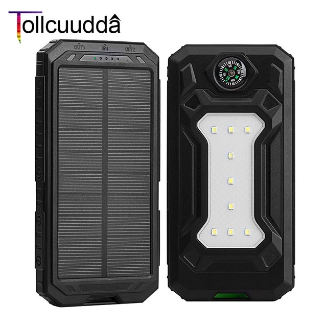 10000 мАч tollcuudda Солнечный Мощность Bank Dual USB Спорт на открытом воздухе внешний Батарея пакет Портативный Зарядное устройство со светодиодной подсветкой повербанк