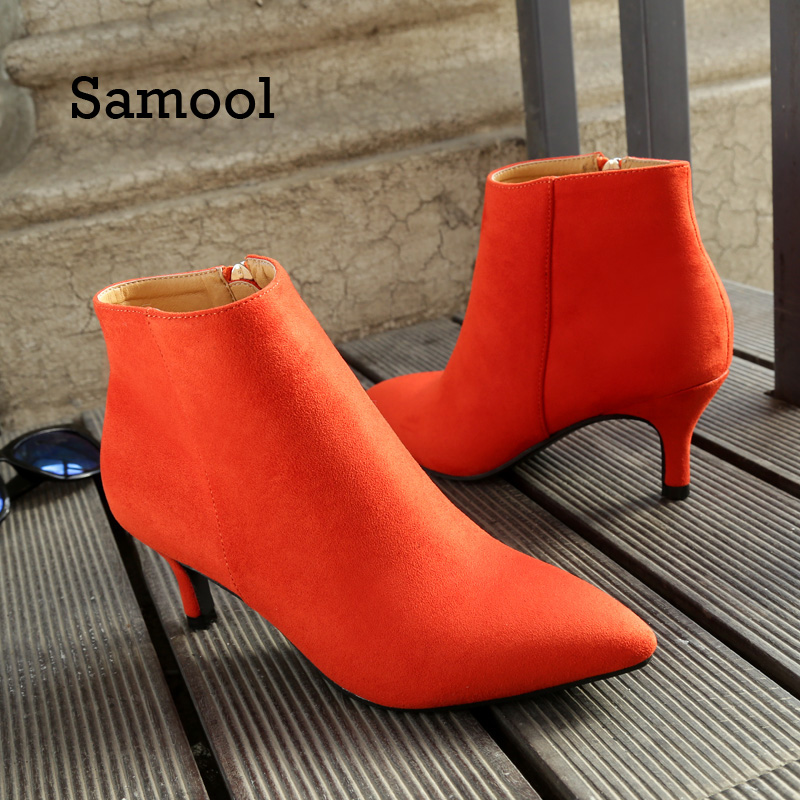 SAMOOL  New Shoes Women Boots High Heels Nice Ankle Boots Pointed Toe Zipper Martin Boots Zip Ladies Shoes Orange Casual Boots meotina new shoes women boots high heels ankle boots pointed toe buckle martin boots zip ladies shoes white big size 44 45 10 11
