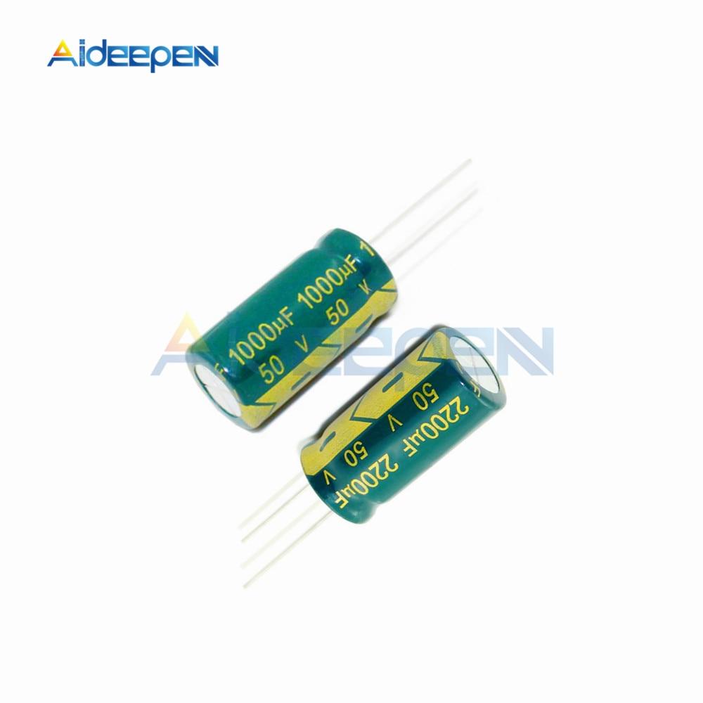 10PCS New 1000uF 50V 105C Radial Electrolytic Capacitor 13x21mm