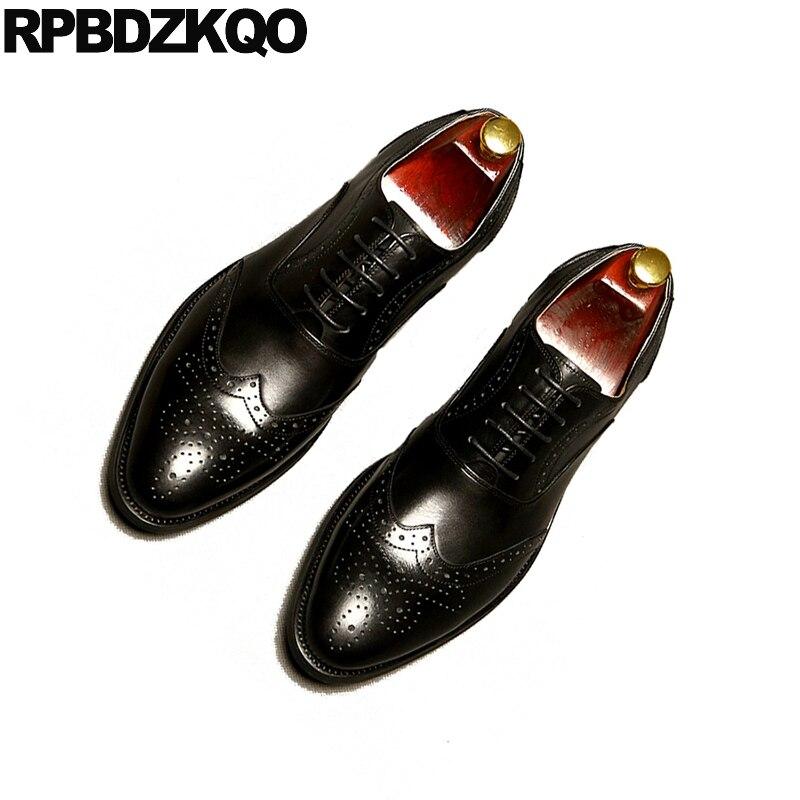 Sapatos Para Wingtip Preto Preto Dedo Homens Italianos Do Marca Casamento Handmade O Couro Escritório Formal marrom Apontado Oxfords Genuíno Runway Vestido Brogue EAqSwd