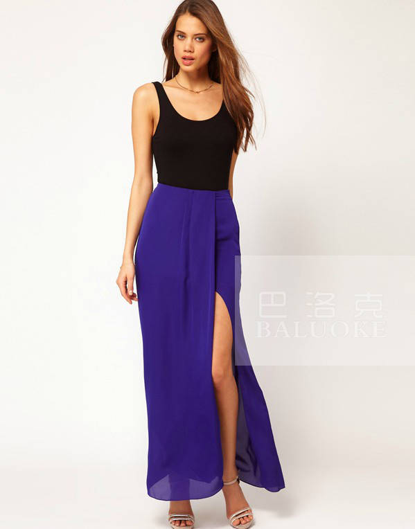Chiffon Maxi Skirt Side High Slit Long Skirt Promotion-Shop for ...