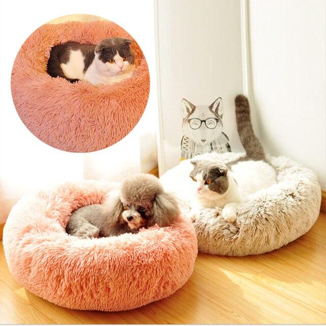 Long Plush Super Soft Pet Bed Kennel pet Dog Round Cat Winter Warm Sleeping Bag Puppy Cushion Mat Portable Cat Supplies 50/60cm