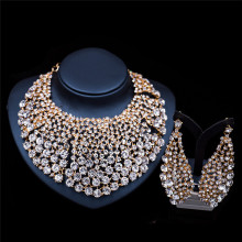 2017 New Fashion Silver&Gold  Necklace Earrings Jewelry Sets Full Rhinestone Bridal Wedding Party Jewelry Sets LF-G024
