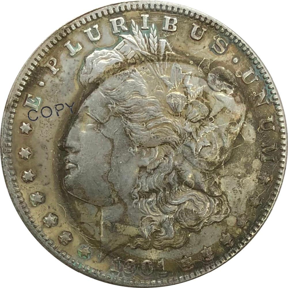 1901 Соединенные Штаты Морган 1 один доллар предметы коллекционирования из мельхиора, покрытые серебром копия монеты