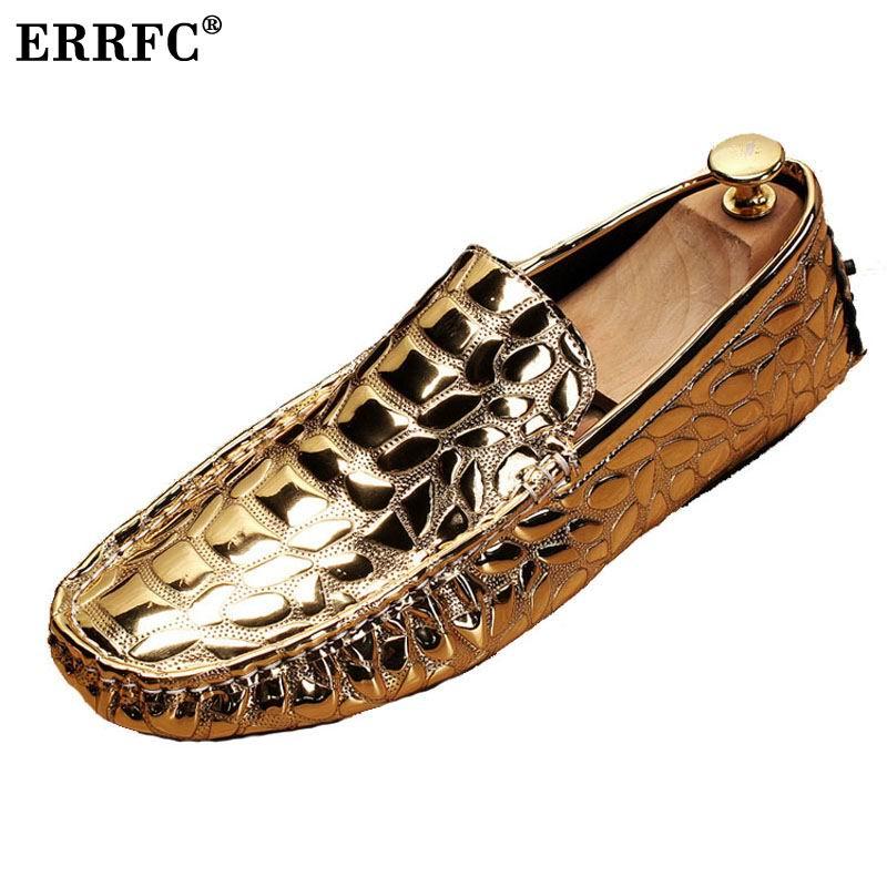 ERRFC Luxury Gold Men Loafer Shoes Fashion Forward Slip On Silver Moccasin Shoes Man Black Leisure