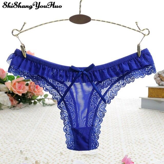5ab14a9bf4f3 Bragas de encaje Sexy moda ropa interior de mujer Bragas de mujer Lencería  transparente Intim bragas