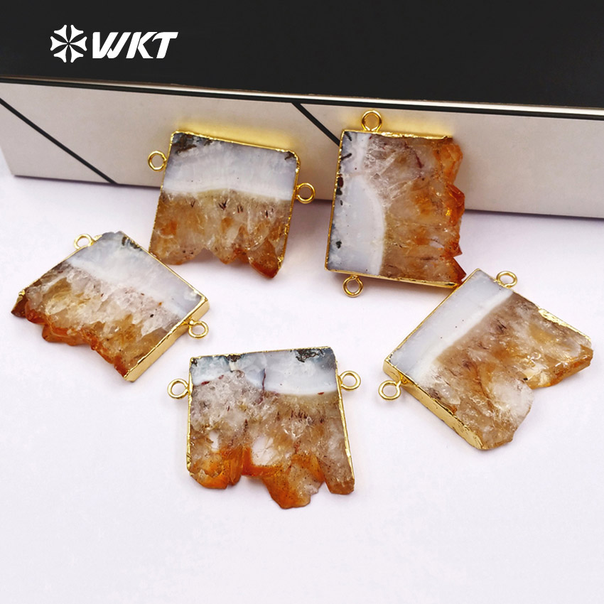 WT P421 WKT Wholesale slice yellow stone double hoops pendants fashion yellow stone connector pendants