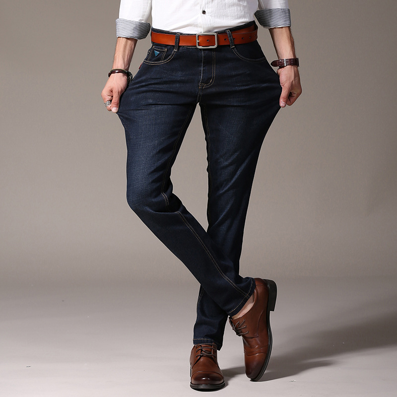 New Men's Jeans Business Casual Stretch Slim Denim Jeans Trousers Male Pants Big Size 40 42