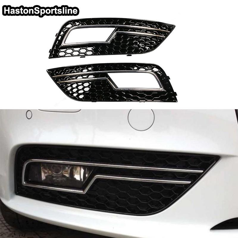 Black With Chrome Honeycomb Front Bumper Fog Lights Cover Fog lamp Trim Part for Audi A4 S4 RS4 B9 2013 2014 2015 front fog lights lamp bumper lights for toyota auris hybrid touring sports 2014 2015