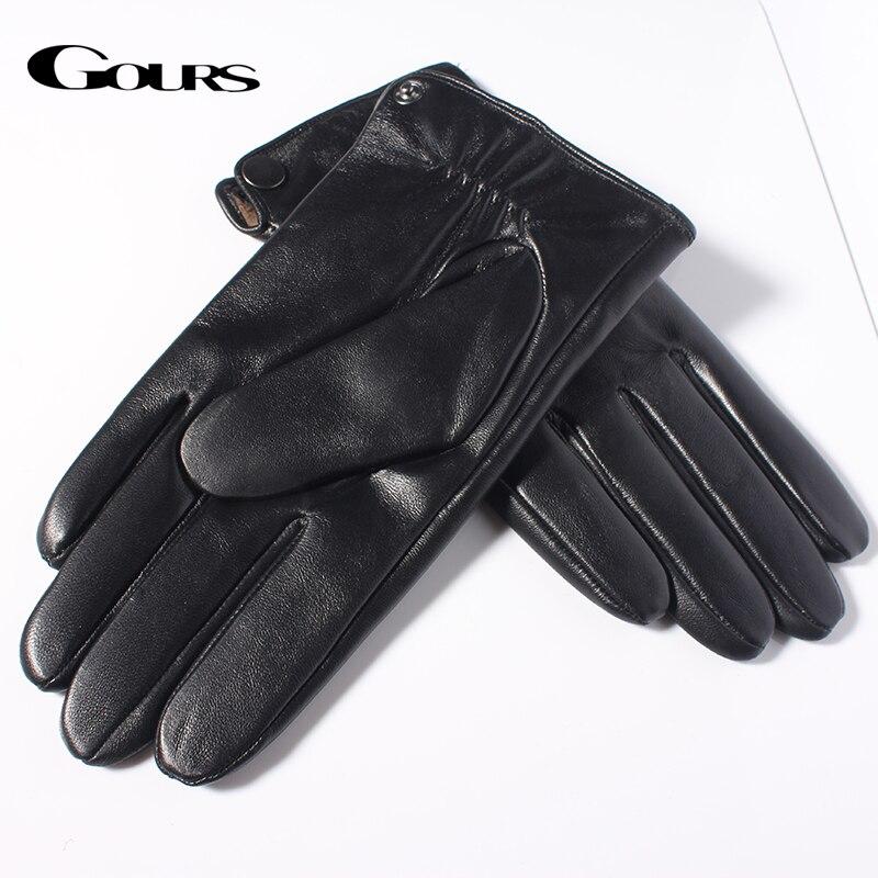 Image 4 - Мужские теплые перчатки GOURS, черные перчатки из натуральной овечьей кожи с возможностью управления сенсорным экраном, GSM051, зима 2019-in Мужские перчатки from Аксессуары для одежды on AliExpress - 11.11_Double 11_Singles' Day