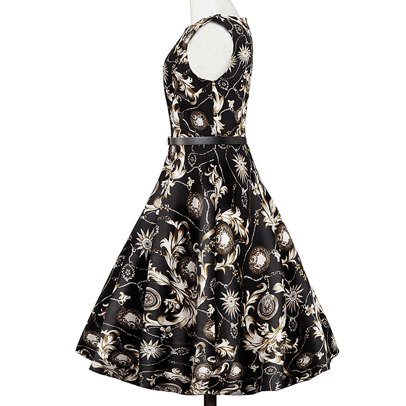 Kostlish Elegant Print Women Summer Dress Sleeveless Cotton Hepburn 50s 60s Vintage Dress With Belt Casual A-Line Ladies Dresses (21)