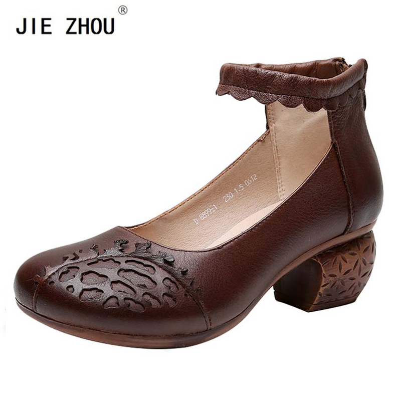 New Spring Autumn Women Pumps Ethnic Style Genuine Leather Women Shoes Square Med Heel Round Toe