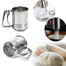 Stainless Steel Semiautomatic Flour Sieve Mugs Design Flour Sifter Shaker Baking Pastry Tools Bakeware Strainer for Coffee Icing