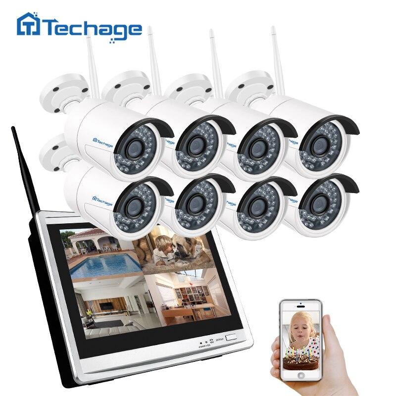 Techage 8CH 960 P Sans Fil NVR Wifi CCTV Système 12 LCD Moniteur à Écran 1.3MP Extérieure IP66 IP Caméra de Sécurité Système de Surveillance