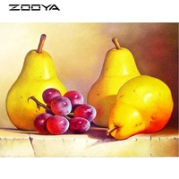 ZOOYA DIY Diamond Embroidery Beads Fruits Pear Grapes Round Diamond Painting Cross Stitch Kits Mosaic Home
