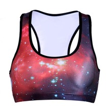 NEW 0004 Summer Sexy Girl Women star sky galaxy Red3D Prints Padded Push Up Gym Vest Top Chest Running Sport Yoga Bras