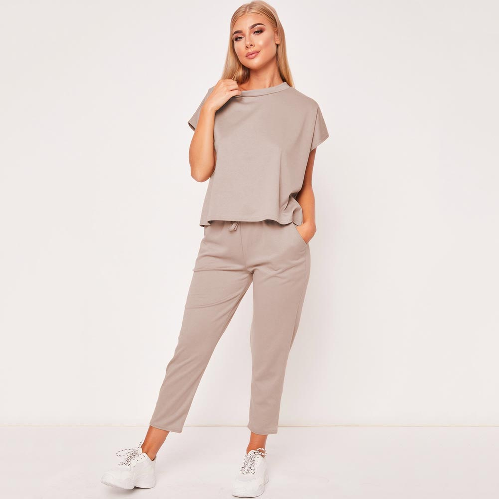 Retro Hot 2019 New Ladies Women's Suit Summer Lace Up Joggers Plain Lounge Wear Tracksuit Lounge Wear Casual Loose Solid Sets