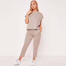 Retro Hot 2019 New Ladies Womens Suit Summer Lace Up Joggers Plain Lounge Wear Tracksuit Lounge Wear Casual Loose Solid Sets