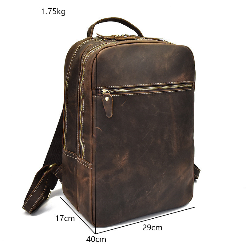 Мужской рюкзак прочный Crazy Horse кожа мужские сумки на плечо верхний слой кожа Повседневная Большая емкость Мужской рюкзак для ноутбука - 6