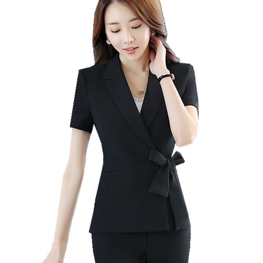 Fmasuth traje falda formal mujeres bowknot tie manga corta con muescas chaqueta  2 unidades Oficina Trajes ropa ow0315 en Trajes de falda de La ropa de las  ... d7571c7d1f8a