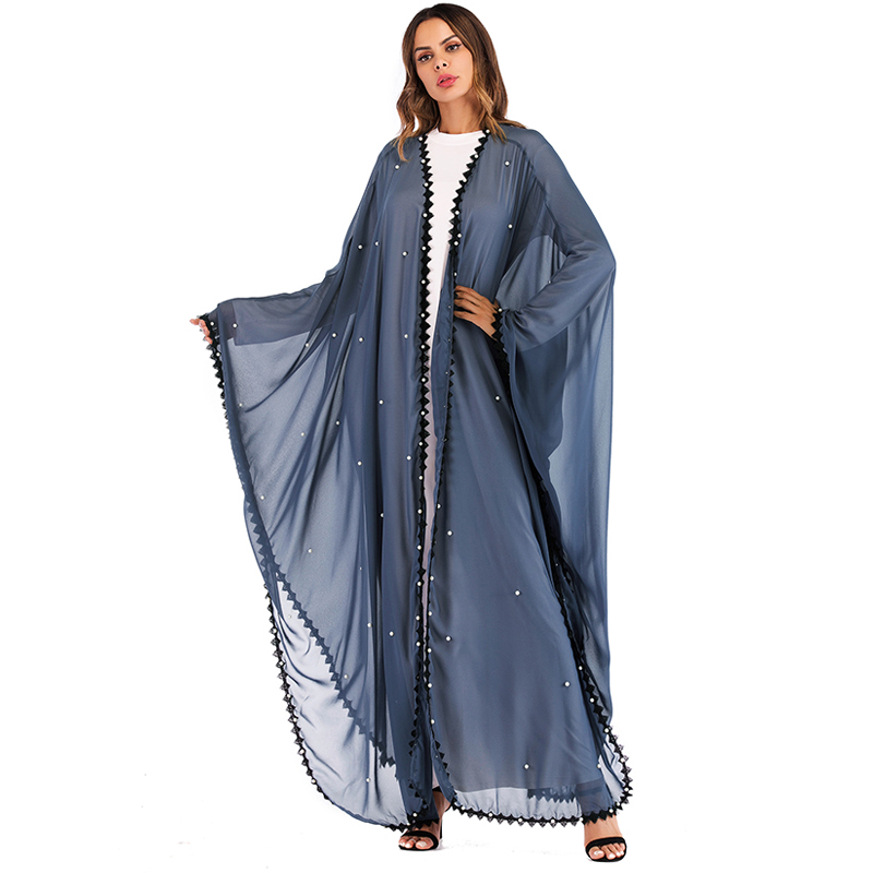Long Lace Mesh Pearls Kaftan Abaya Dubai Turkish Islamic Muslim Hijab Dress Abayas For Women Qatar Jilbab Robe Caftan Clothing