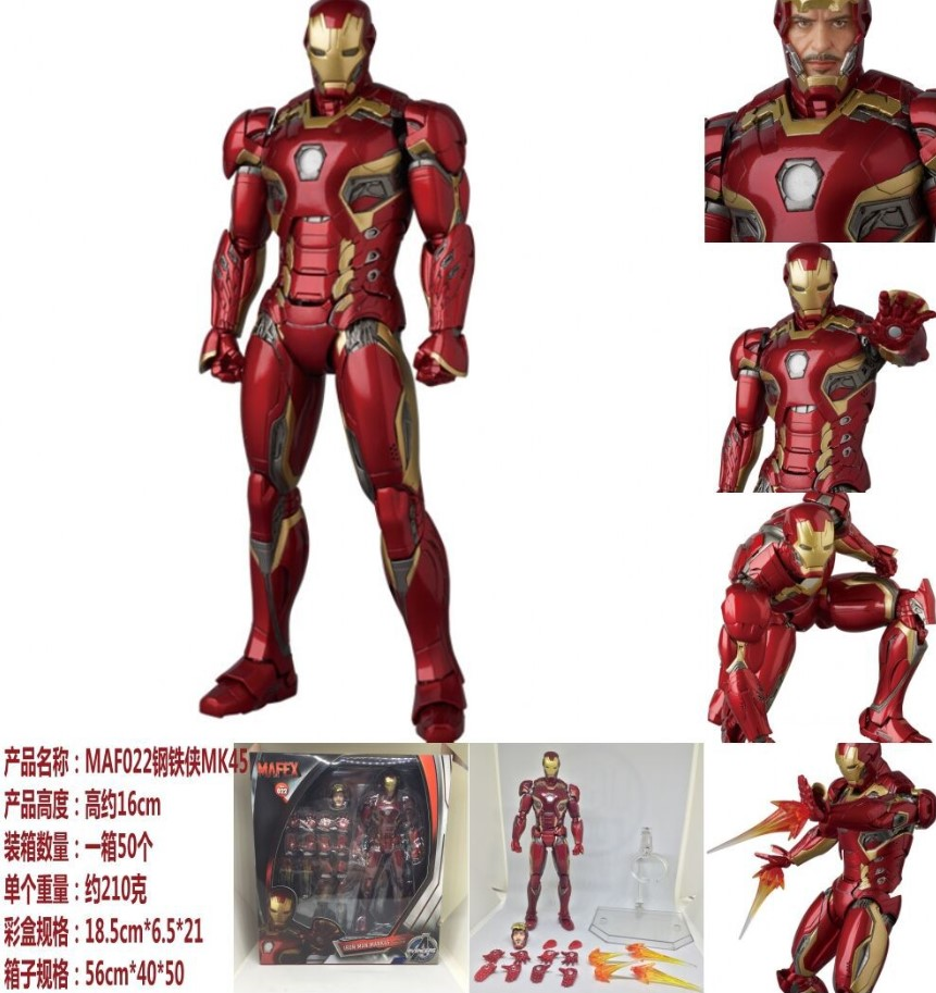 MK45 MAF022 Avengers IRON MAN Real head carving Collectible Action Figure IN BOX