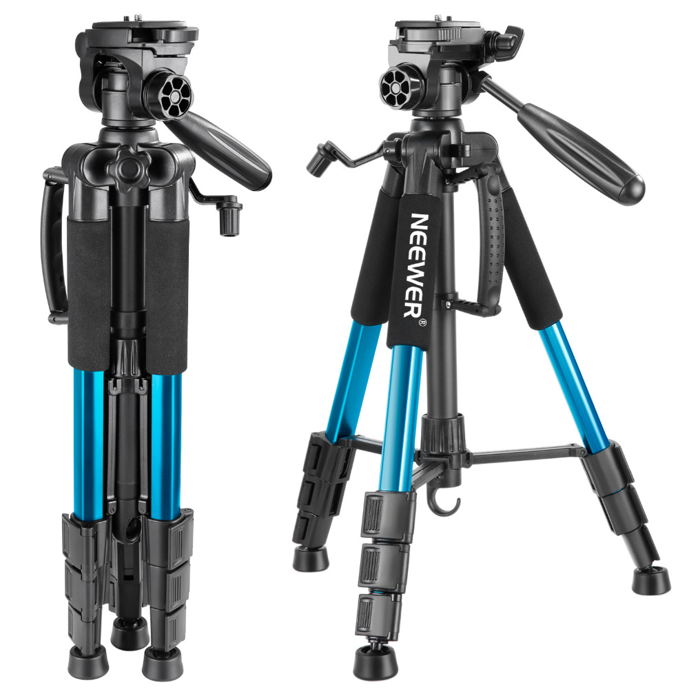 Neewer Blue 56 inches/142cm Aluminum Camera Tripod 3-Way Swivel Pan Head+Carryin