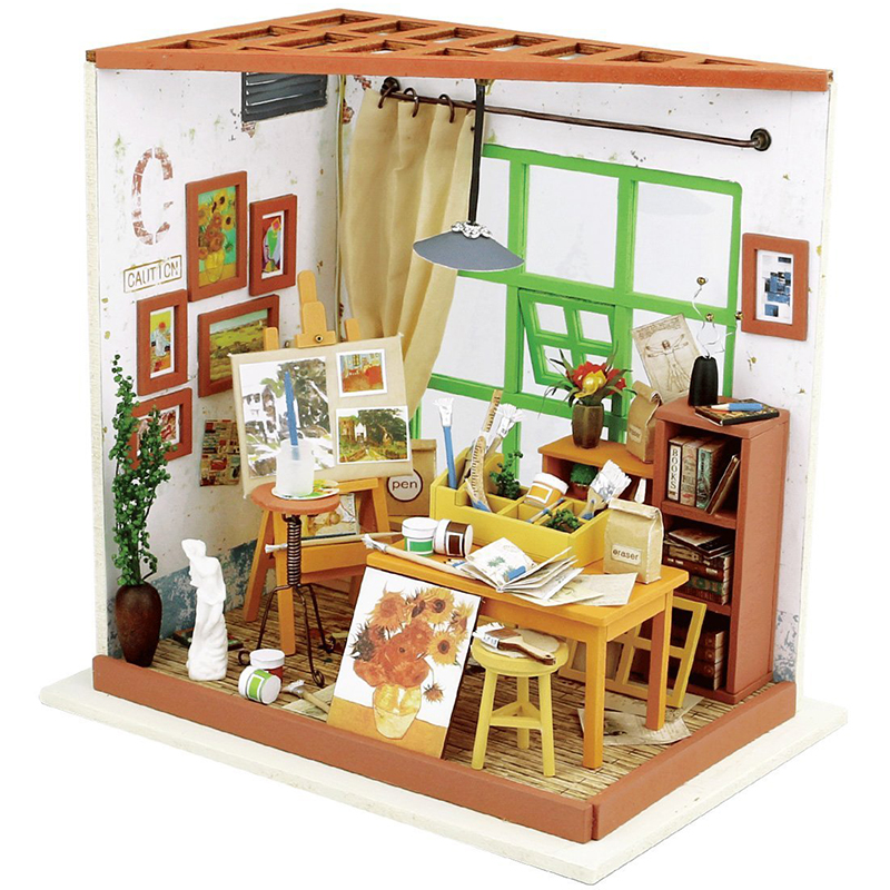 1:12 LED 3D Wooden Puzzle Model Miniatures Adas Studio Drawing Doll House Furniture DIY Collection Christmas Toys For Children