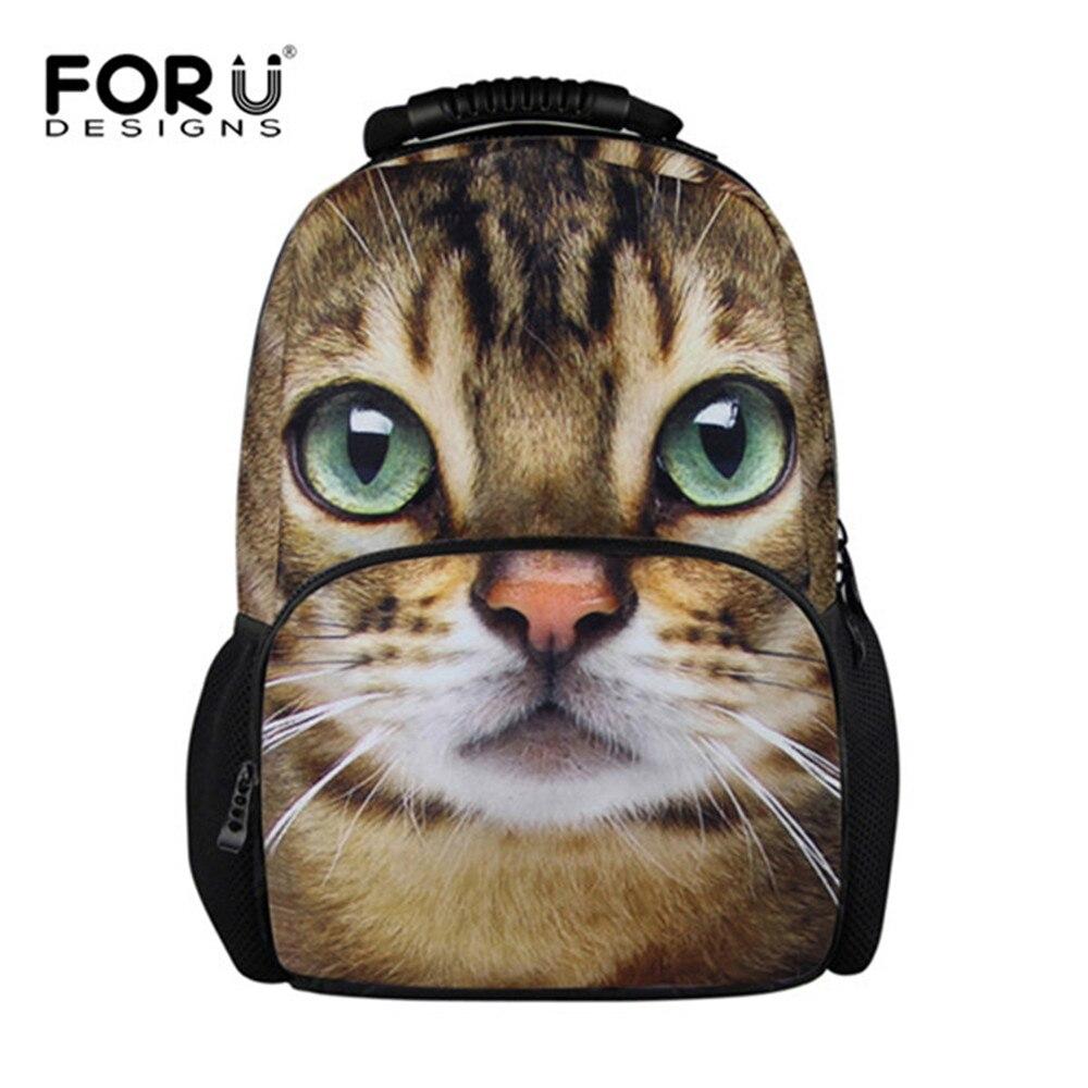 FORUDESIGNS Children School Felt Backpack for Girl Cute 3D Animal Cat Dog Print Backpack for Kids