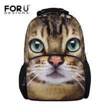 Forudesigns/Детская школьная Фетр рюкзак для девочки милые 3D животное кошка собака печати рюкзак для детей женщин студент путешествия рюкзак