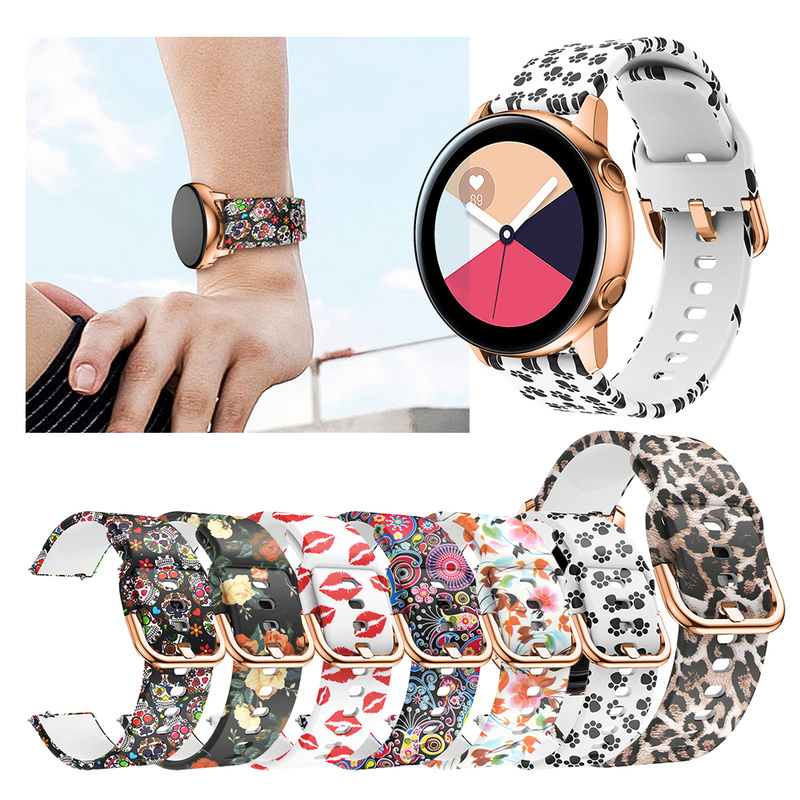 8Color Watch Replacement Wrist Strap For Samsung Galaxy Watch Active Band 20mm Silicone Soft Sport Print Strap Smart Accessories