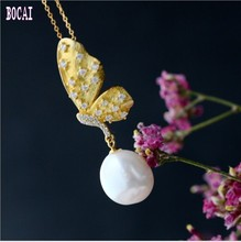 S925 sterling silver pendant with natural Baroque pearl pendant  fashion butterfly pendant  for Women