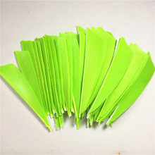 50pcs High Quality 3inch Feath Shield Cut Turkey Feather Fluorescent Green Arrow Real Feather Arrow Feathers Vanes Bow Arrow 50pcs high quality 3inch feath shield cut vanes turkey feather violet arrow real feather arrow feathers vanes bow arrow