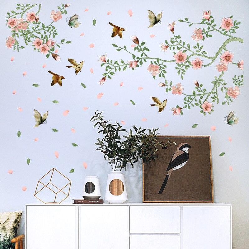 Творческий Дерево лоза цветок птица стикер гостиная, спальня украшения сада Офис вход завод Наклейка панно для