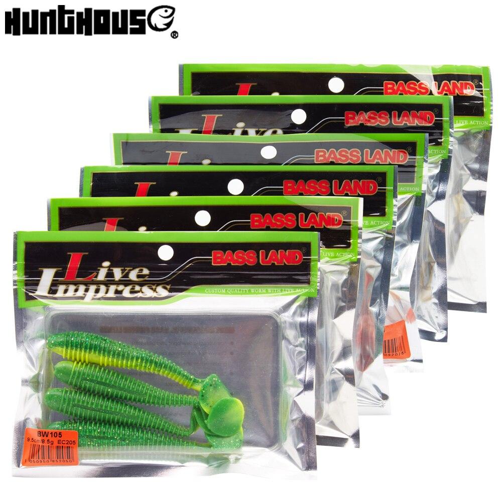 Hunthouse 6 beutel/los weicher köder angeln locken leurre T-schwanz günstigste locken marke 7 cm und 9,5 cm modell BW105