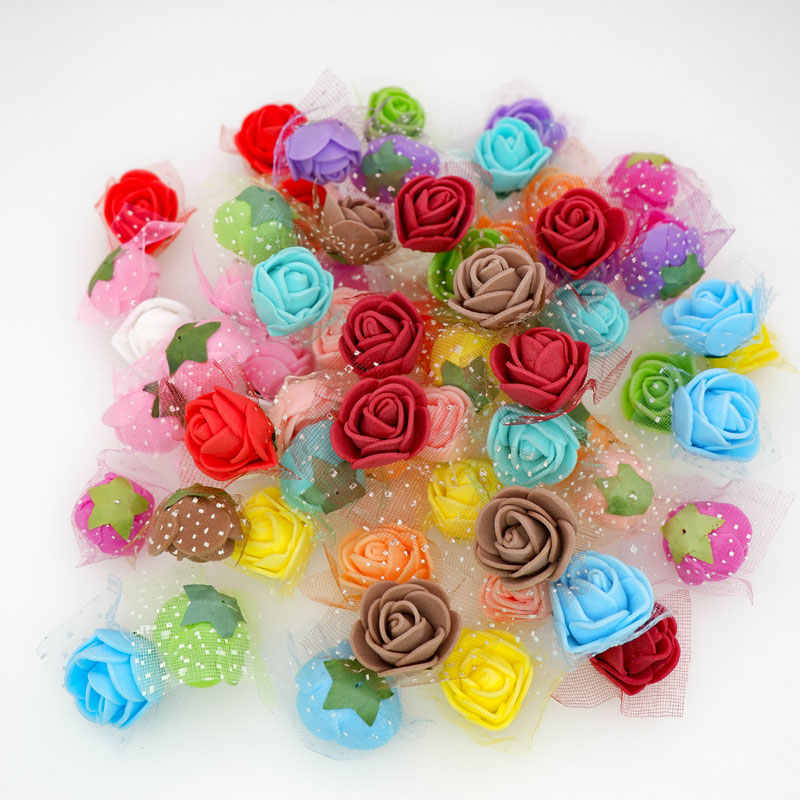 50pcs/100pcs 2cm Mini Tiny Foam Roses Artificial Flower Heads DIY Teddy Flower Bear Wedding Party Decoration Scrapbooking Craft
