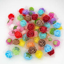 50pcs/100pcs 2cm Mini Tiny Foam Roses Artificial Flower Heads DIY Teddy Bear Wedding Party Decoration Scrapbooking Craft
