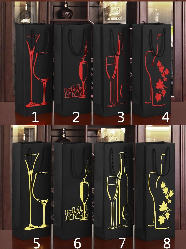 35x12x8cm černé papírové papírové sáčky na víno zlaté červené horké ražby víno sklo hroznový list láhev pokal design olej držák na láhev
