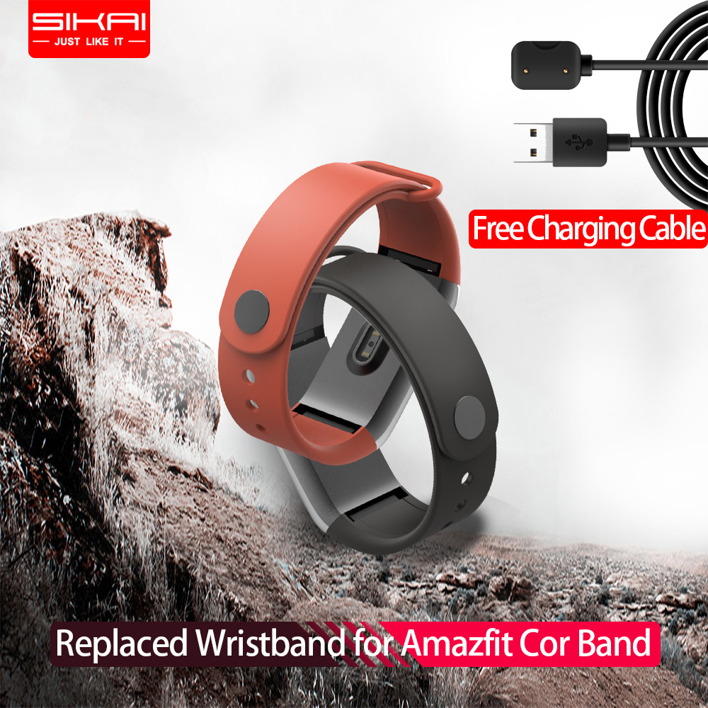 SIKAI Wrist Strap for Amazfit Cor Midong Band Original Replaced Silicone Band for Xiaomi Huami Amazfit Cor Band Wristband Only