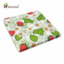 HAKOONA 60 PIECES Decoupage Paper Napkins For Strawberry Green Leaves Plants Table Decoration Disposable