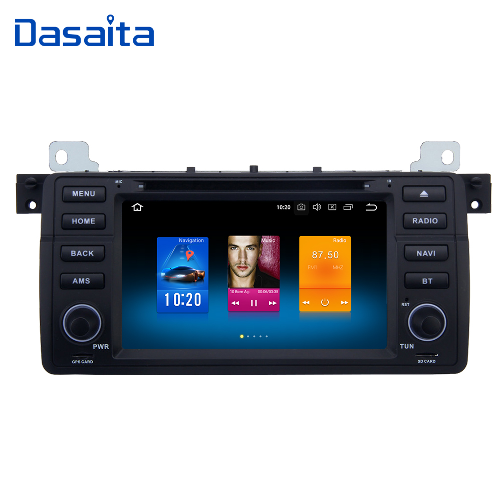 Dasaita 7 1 DIN Car Multimedia Android 8.0 for BMW E46 M3 318i 320i 325i 328i DVD Player Autoradio Steering Wheel Control MP4 for bmw e36 318i 323i 325i 328i m3 carbon fiber headlight eyebrows eyelids 1992 1998