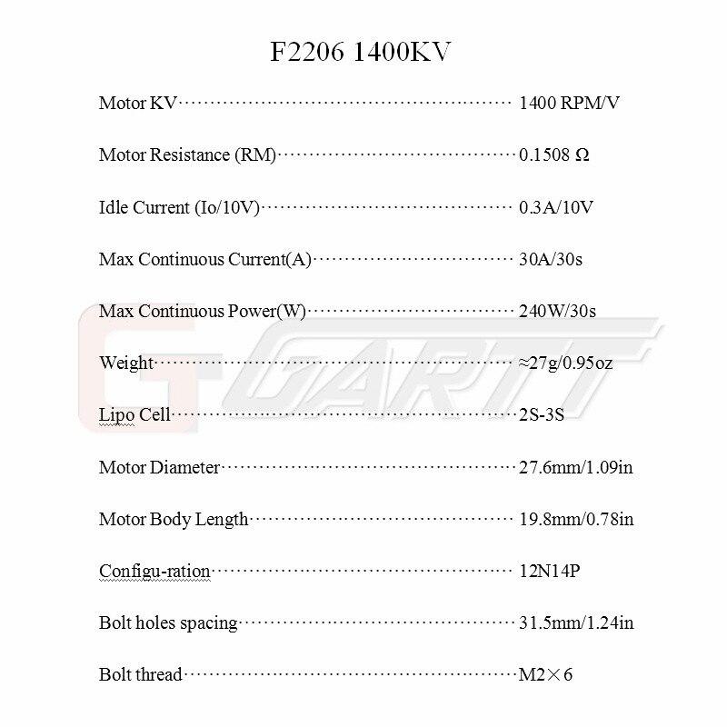GARTT F 2206 1400KV бесщеточный двигатель для F3P RC самолет с фиксированным крылом